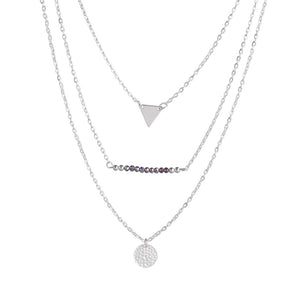 Triple Layer Bead Triangle Necklace - Fantasy Jewelry Online
