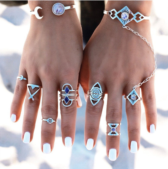 6 piece Bohemian Evil Eye Geometric Rings Set - Fantasy Jewelry Online