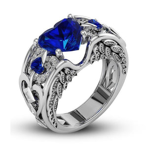 September Birthstone Sapphire Heart Angel Wing Ring - Fantasy Jewelry Online