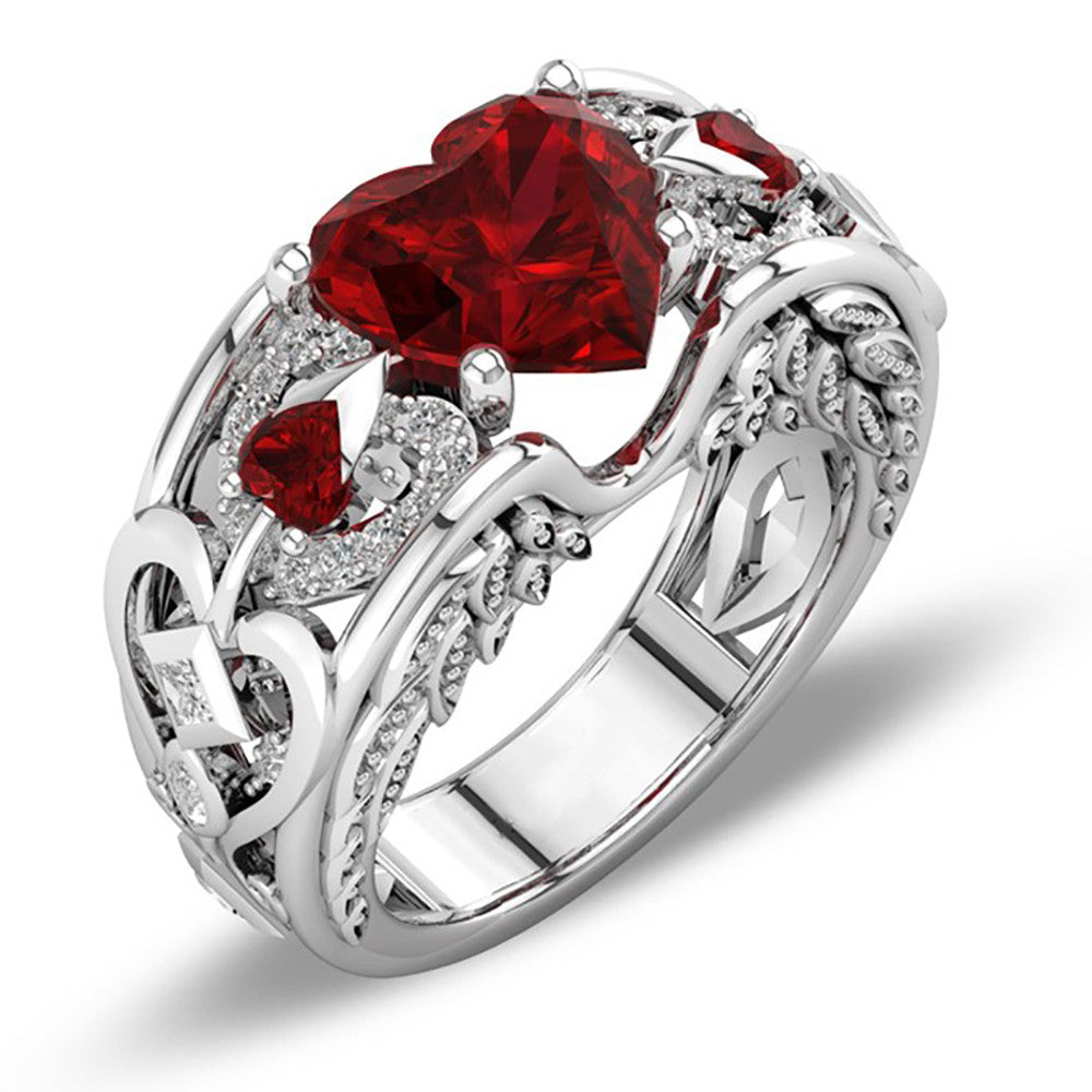 July Birthstone Ruby Heart Angel Wing Ring - Fantasy Jewelry Online