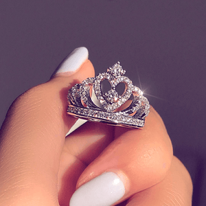 April Birthstone Heart Crown Diamond Ring - Fantasy Jewelry Online