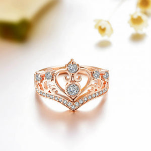 Heart Crown Openwork Princess Ring