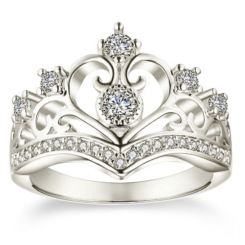 Heart Crown Openwork Princess Ring - Fantasy Jewelry Online