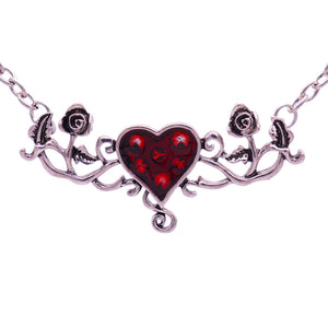 Heart Rose Pendant Necklace - Fantasy Jewelry Online