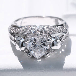 April Birthstone Diamond Heart Skull Princess Ring - Fantasy Jewelry Online