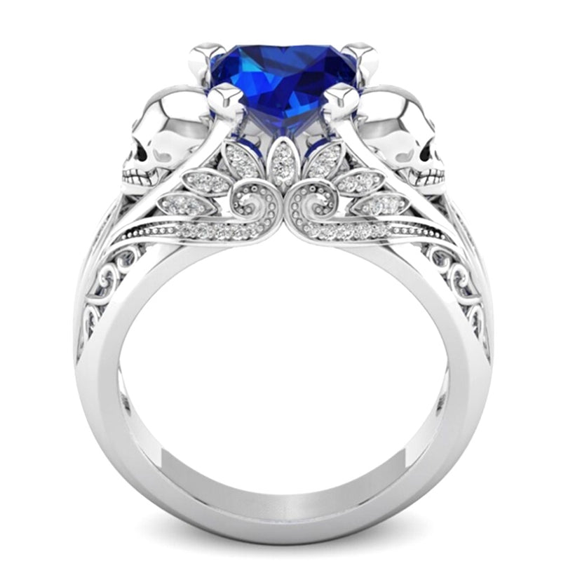 September Birthstone Sapphire Heart Skull Princess Ring - Fantasy Jewelry Online