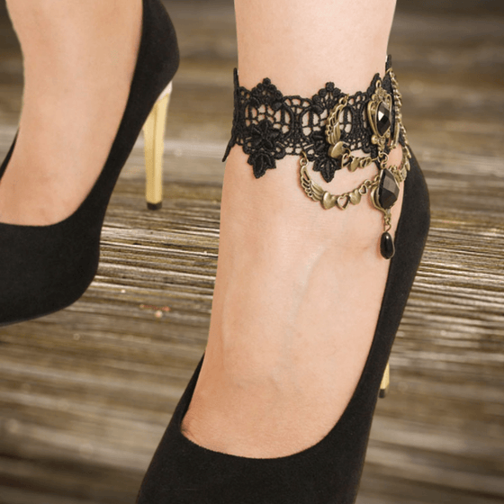 Hearts Angel Wings Lace Anklet - Fantasy Jewelry Online