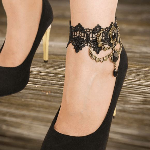 Hearts Angel Wings Lace Anklet