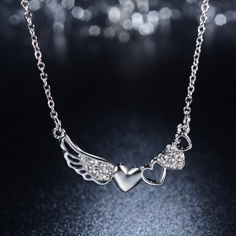 Guardian Angel Wing and Hearts Necklace - Fantasy Jewelry Online