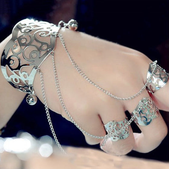 Hollow Motif Hand Chain Bangle Bracelet - Fantasy Jewelry Online