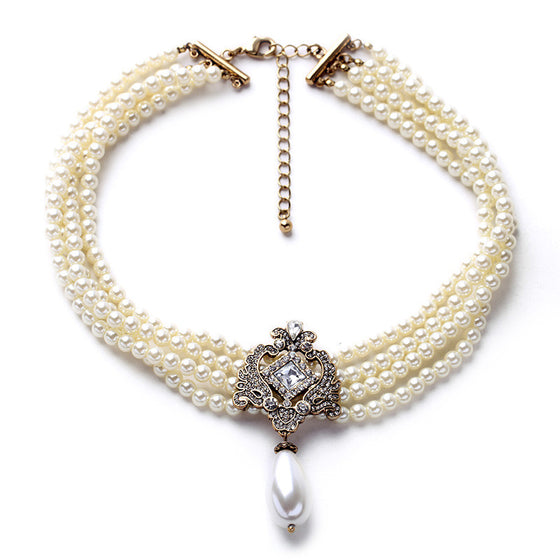 Imitation Pearl And Pavé Choker Necklace - Fantasy Jewelry Online
