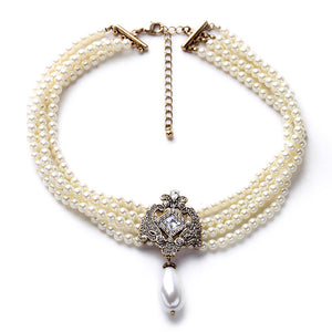 Imitation Pearl And Pavé Choker Necklace - June Birthstone Pearl - Fantasy Jewelry Online