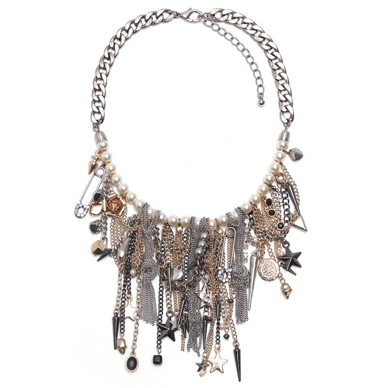 Simulated Pearls Charm Tassels Statement Necklace - June Birthstone Pearl - Fantasy Jewelry Online