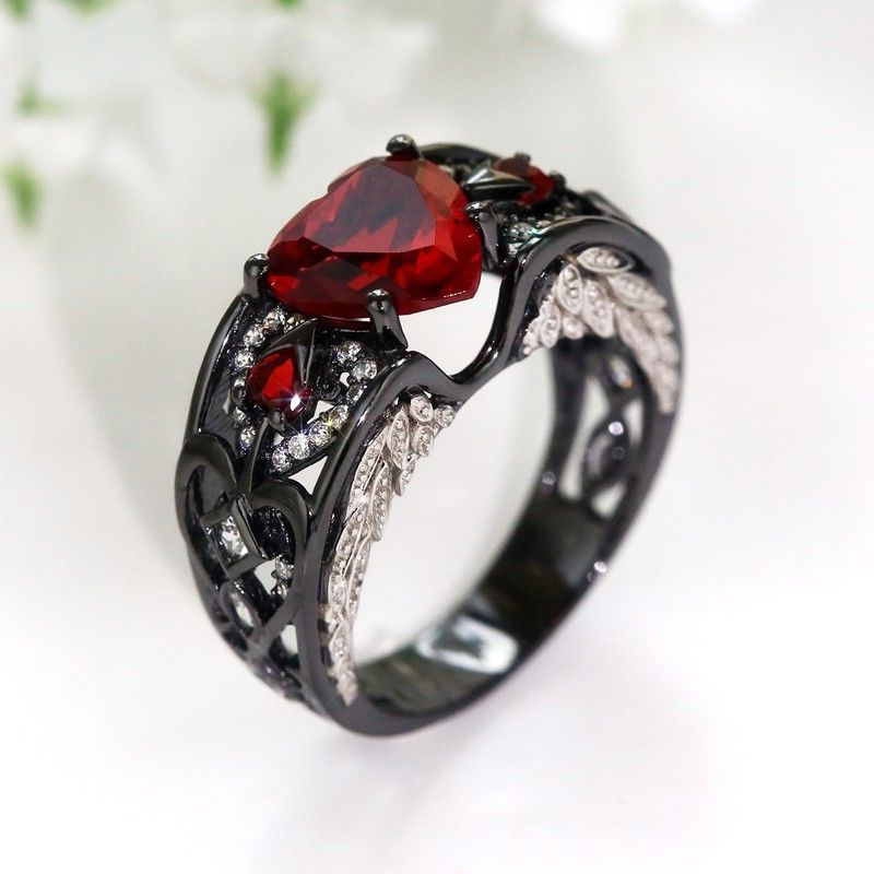 January Birthstone Black Gold Filled Garnet Angel Wing Ring - Fantasy Jewelry Online