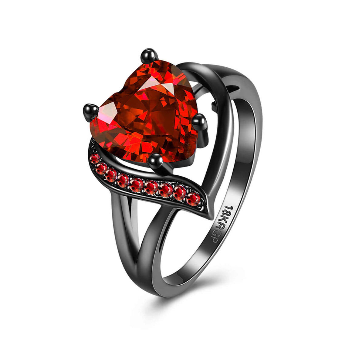 January Birthstone Garnet Heart Princess Ring