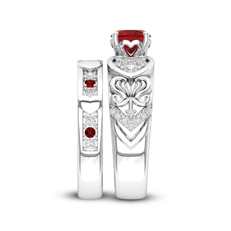 July Birthstone Romantic Hearts Ruby Princess Ring Set - Fantasy Jewelry Online