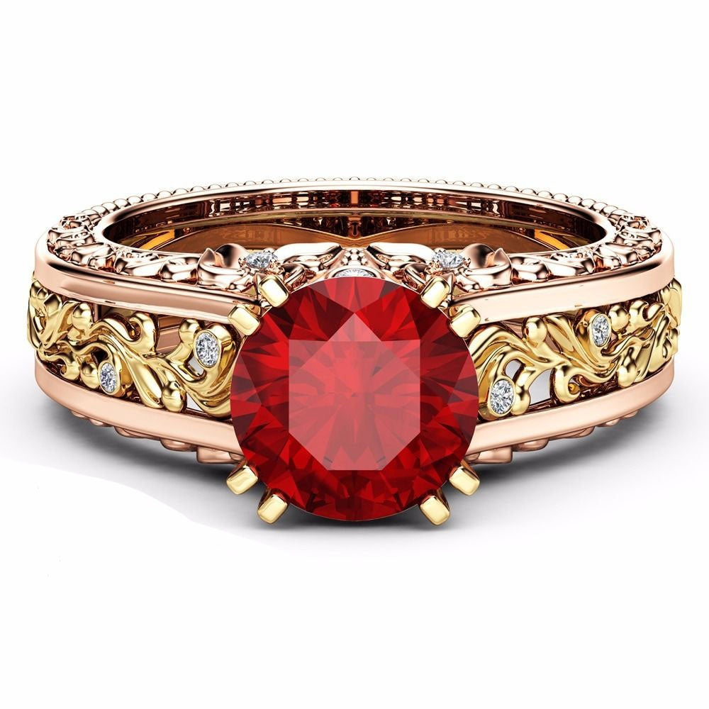 July Birthstone Ruby Bouquet Princess Ring - Fantasy Jewelry Online