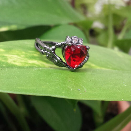 July Birthstone Ruby Claddagh Heart Of Love Skeleton Hands Of Eternity Ring - Fantasy Jewelry Online
