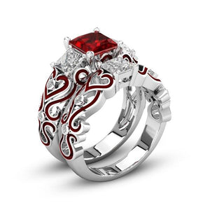 July Birthstone Ruby Princess Ring Set - Fantasy Jewelry Online