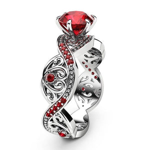 July Birthstone Ruby Twist Princess Ring - Fantasy Jewelry Online