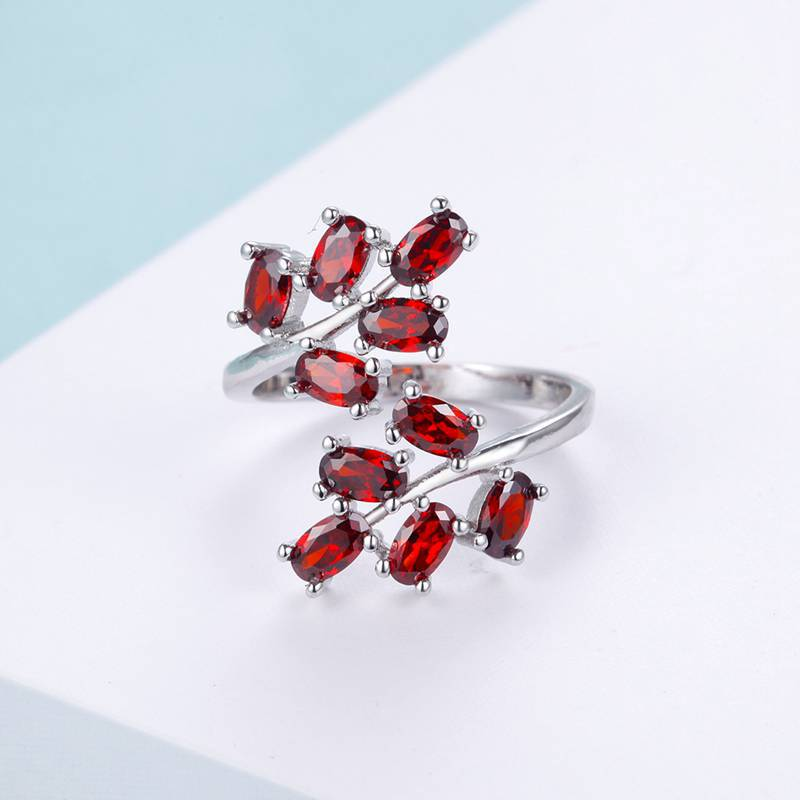 July Birthstone Ruby Vine Princess Ring