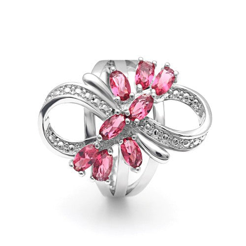 July Birthstone Simulated Ruby Floral Twist Princess Ring