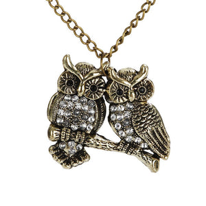 Lovey Dovey Owl Necklace - Fantasy Jewelry Online