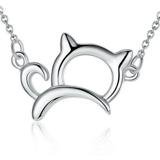 Lucky Platinum Plated Cat Necklace - Fantasy Jewelry Online