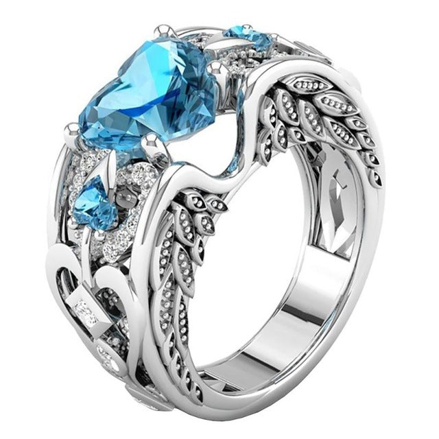 March Birthstone Aquamarine Heart Angel Wing Ring - Fantasy Jewelry Online