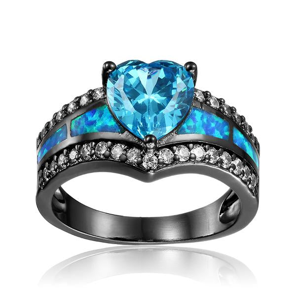 March Birthstone Aquamarine Heart Ring - Fantasy Jewelry Online