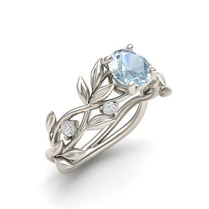 March Birthstone Aquamarine Round Cut Floral Crystal Ring - Fantasy Jewelry Online