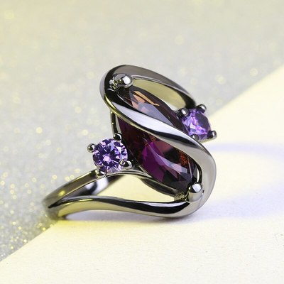 Marquise Simulated Amethyst Princess Ring