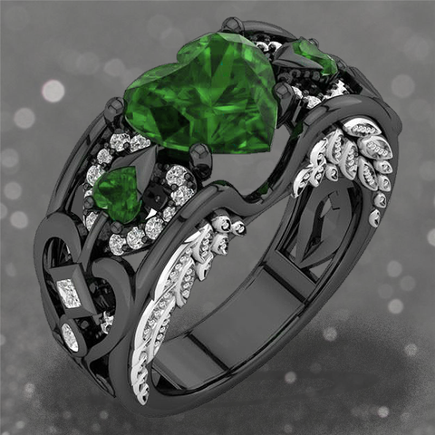 May Birthstone Black Gold Filled Emerald Angel Wing Ring - Fantasy Jewelry Online