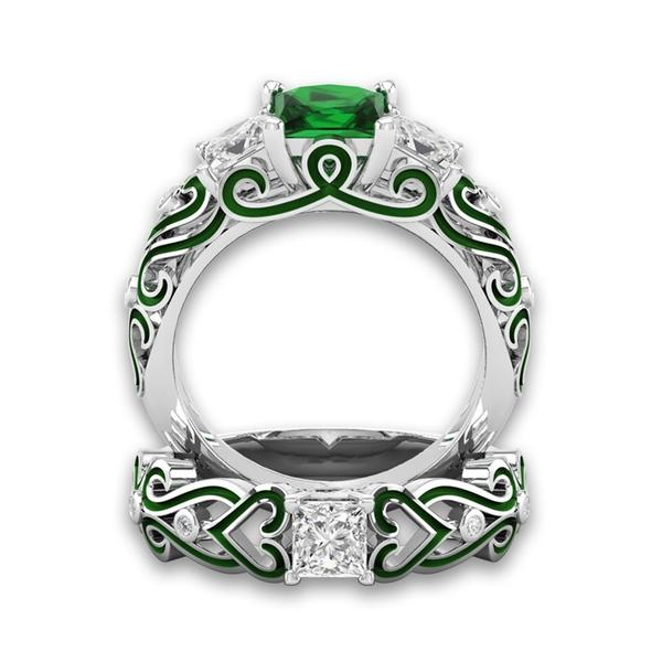 May Birthstone Emerald Princess Ring Set - Fantasy Jewelry Online