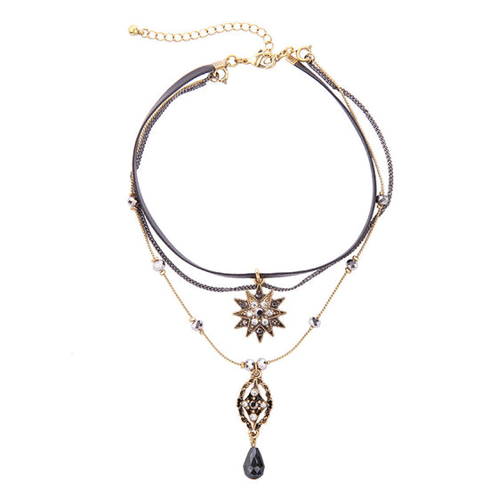 Multi-Layer Crystal Star Choker Necklace - Fantasy Jewelry Online