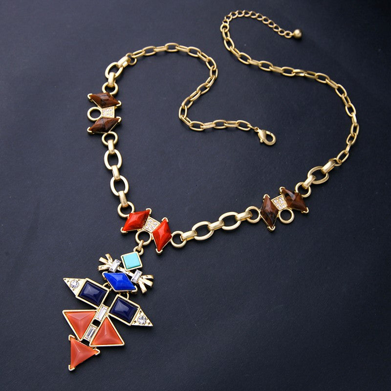 Layla Multicolor Geometric Lariat Necklace - Fantasy Jewelry Online