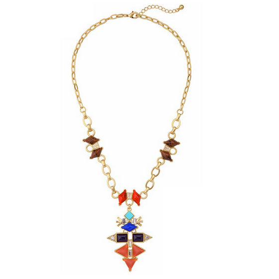 Layla Multicolor Geometric Lariat Necklace