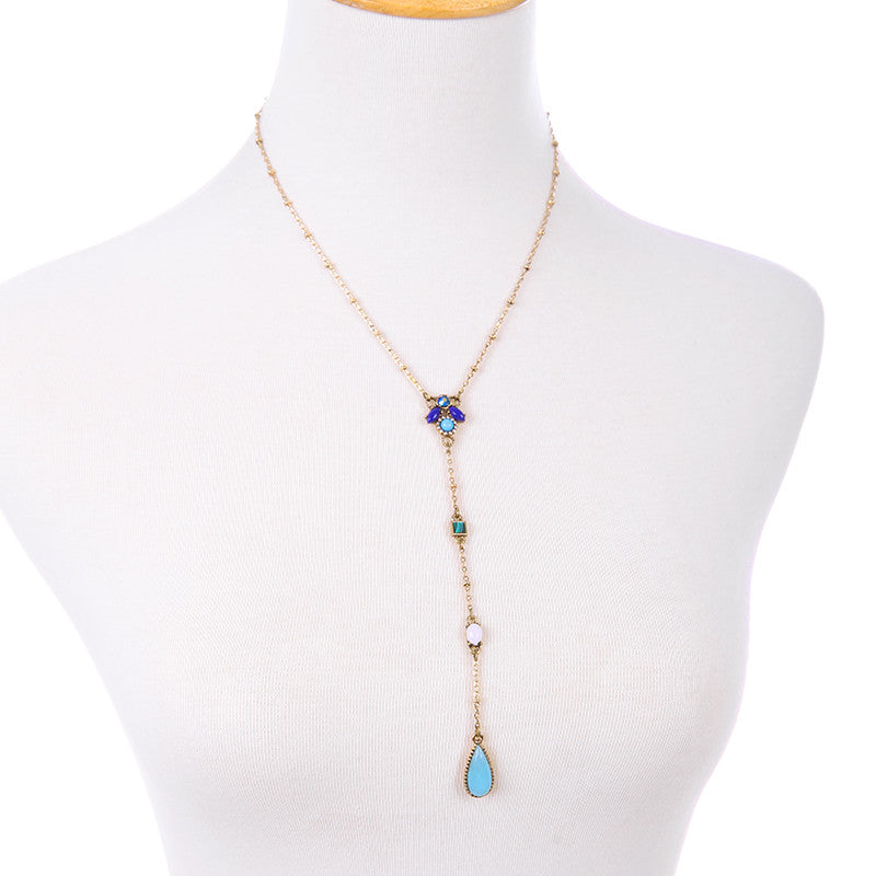 Multicolor Lariat Teardrop Necklace - Fantasy Jewelry Online
