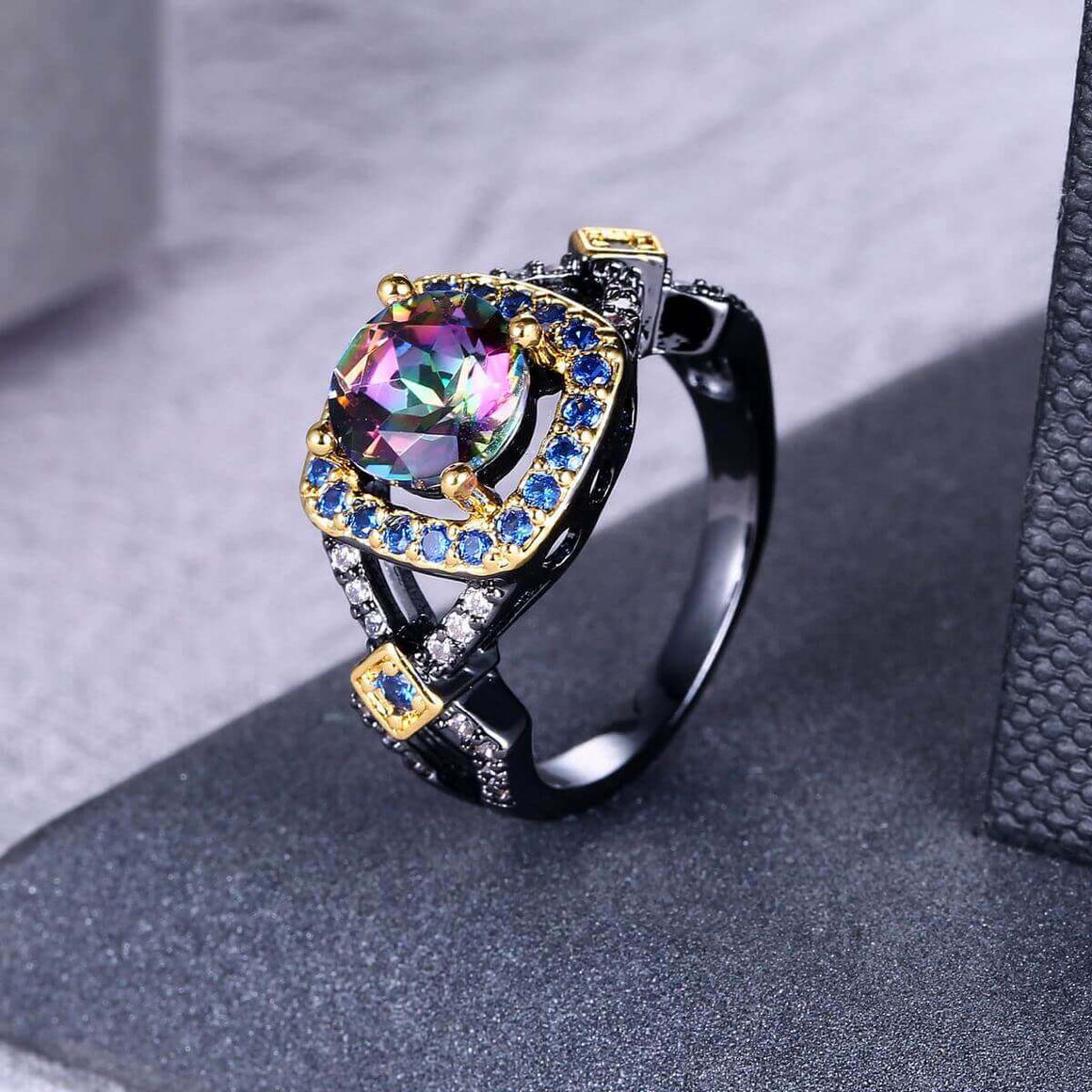 Mystic Rainbow Halo Ring - Fantasy Jewelry Online