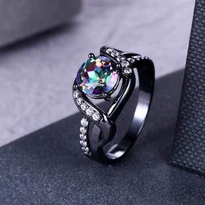 Mystic Rainbow Solitaire Twist Ring - Fantasy Jewelry Online