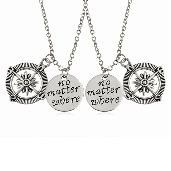 """No Matter Where"" Compass Necklaces (Set of 2)"