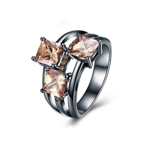 November Birthstone Champagne Topaz Trinity Ring - Fantasy Jewelry Online