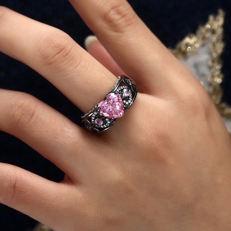 October Birthstone Black Gold Filled Pink Tourmaline Angel Wing Ring - Fantasy Jewelry Online