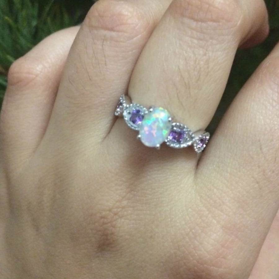 October Birthstone White Fire Opal Amethyst Princess Ring - Fantasy Jewelry Online