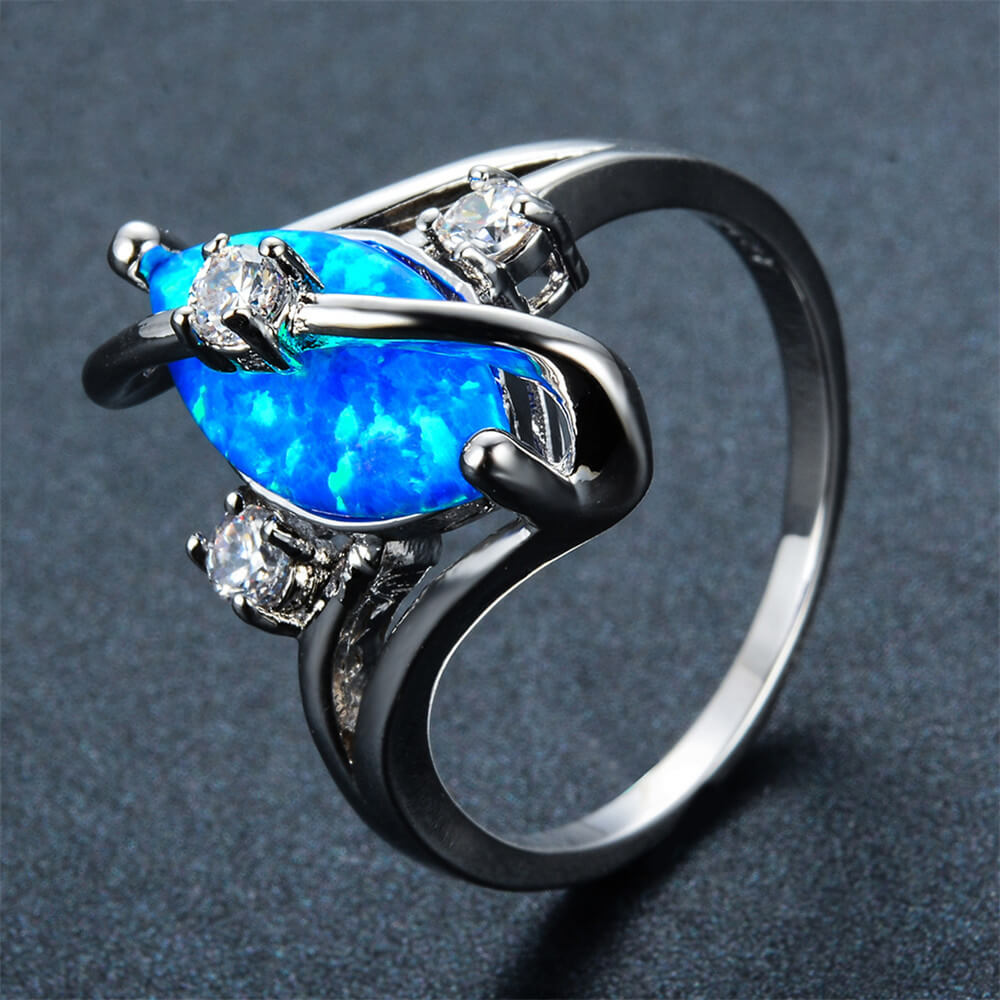 October Birthstone Fire Opal Marquise White Gold Filled Ring - Fantasy Jewelry Online