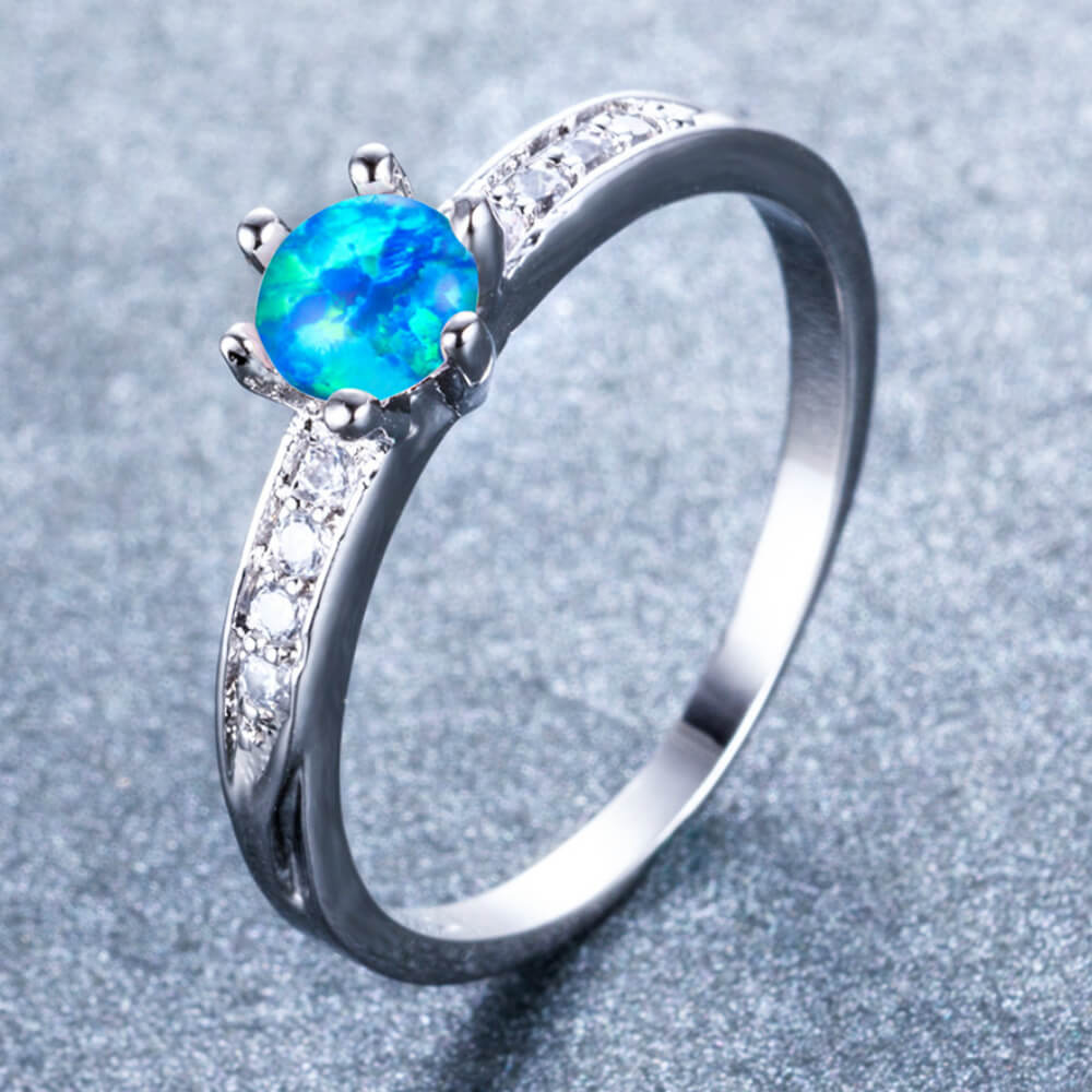 October Birthstone Fire Opal White Gold Filled Ring - Fantasy Jewelry Online