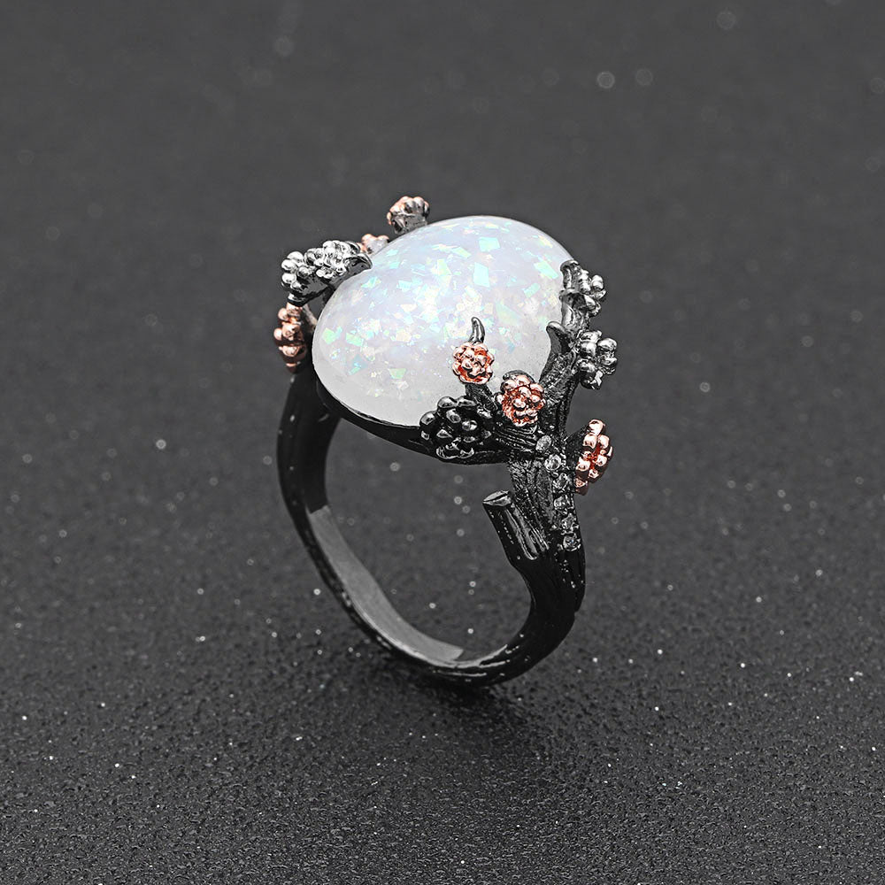 October Birthstone Mystical Fire Opal Tree Ring - 50% Off Today! - Fantasy Jewelry Online