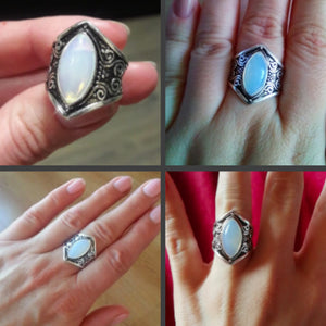 October Birthstone Opal Ancient Statement Ring