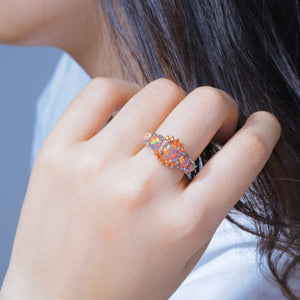 October Birthstone Orange Fire Opal Princess Ring