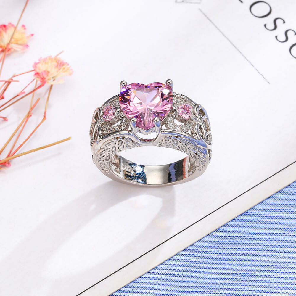 shaped cute wedding promise product heart cubic ring zirconia pink rings